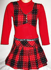 GIRLS RED BLACK SEQUIN TRIM KNIT TARTAN ZIP WAISTCOAT WINTER DRESS