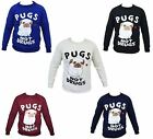 New Women's Celebrity Sweatshirt Pug Jumper Pugs Not Drug Top Sweater