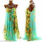 CharlesElie94 ANNELYSE Women Chiffon Pleated Asymmetric Loose Floral Green Dress
