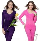 Womens Seamless Floral Body Shaper Body Slim Thin Thermal Underwear Set BE0D