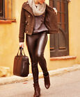 ZARA BLOGGERS BROWN FAUX LEATHER SKINNY TROUSERS LEGGINGS SIZE XS,S,M,L,XL