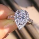 Size 5/6/7/8/9/10 Jewelry 925 silver filld Topaz Heart cut Wedding Lovers Ring