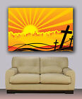 "Christian crosses, skyline sunset Huge giclee canvas print. painting 30""x40"""