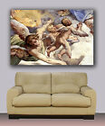 "Angels in sky christian watercolor Huge giclee canvas print. painting 30""x40"""