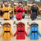 XS-L Women Warm Winter Faux Fur Collar Quilted Coat Parka Hooded Down Jacket