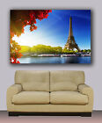 "Romantic Eiffel tower and river Seine Paris Huge giclee canvas print. 30""x40"""