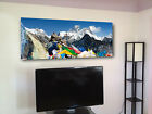 "mount everest himalayas flags wall  decor Huge giclee canvas print. 19""x50"""