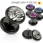 PAIR Zebra FAKE CHEATER PLUGS 16g gauges CHANGE COLOR IN SUN pink blue purple