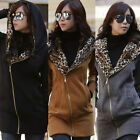 S-L Leopard Print Hoodie Fleece Jacket Overcoat Sweatshirt Long Zips Coat JR