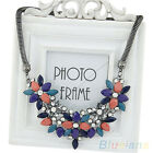 Ideal Womens Resin Crystal Beads Flower Collar Chain Statement Clavicle Necklace