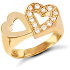 Jewelco London 9ct Solid Gold CZ set double Heart design Ring