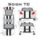 """6-5"""" Dual Rally Racing Stripe with Pin Stripe Cast Vinyl Decal Fits Scion TC on eBay"""