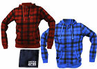 JACK AND JONES FLEECE HOODIE RED OR BLUE BLACK CHECK ZIP TOP SWEATSHIRT UNISEX