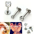 1x Steel Clear CZ Gem 2-4mm Labret Cartilage Monroe Lip Ring Tragus Earring Stud