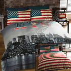 NEW YORK CITY SKYLINE AMERICAN FLAG USA REVERSIBLE QUILT DUVET COVER BEDDING SET