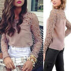 2014 Stylish Women Casual Long Sleeve Shirt Lace Crochet Loose Tops Blouse
