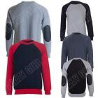 Mens Sweatshirt Quilted Patched Raglan Sleeve Ribbed Hem Crew Neck Size S M L XL