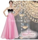 BNWT BELLA Pink Crystal Embellished Maxi Prom Evening Ballgown Dress UK 6 - 14