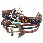 Anchor Rudder Infinity Leather Wrap Multi Layers Bracelet Women Men Gift Jewelry