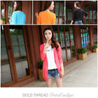 Womens UV Protection Many Colors Knit Long Sleeve Cardigan Sweaters Tops Outwear