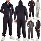 New Mens Plain Tracksuit Jogging Bottoms Zip Up Hoodie Sweatshirt Size S to XXL