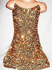 GIRLS GOLD SEQUIN STRAPPY EVENING DISCO DANCE PARTY DRESS