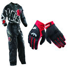 Thor Static Boxed Black Red Jersey Pants with Impact Red Gloves Dirt Bike Gear