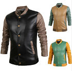 Brand New Men's Slim Splice Color PU Leather Jackets Single Breasted Coats AU JR
