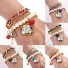 Vogue Women Faux Pearl Leather Anchor Bracelet Wrist Analog Round Dial Watch
