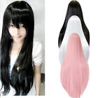 Cosplay Costume Party Womens Long Straight Full Hair Wigs 3 Colors Fashion New