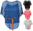 Womens New Batwing Sleeve Ladies Belt Tie Crochet Mesh Jumper Vest Top Plus Size