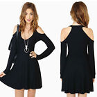 Fashion Women Mini Dress Shoulder Cutout Long Sleeve Clubwear Skater Dress Black