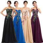 FREE SHIP❤ Embroidery Peacock Retro Long Prom Party Gown Formal Bridesmaid Dress