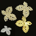 4 Pcs Lot Butteflies Rhinestone Crystal Shank Buttons Sewing&DIY Gold/ Silver