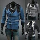 Men's Slim Sweater Hoodies Oblique Zipper Jacket Coat Long Sleeve Outerwear NB