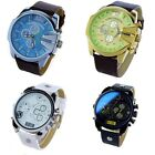 Classic Wristwatch Men's Stainless Steel&Alloy Dial Synthetic Leather Band Watch
