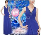 BNWT GEM Royal Blue Beaded Chiffon Prom Evening Ballgown Maxi Dress UK 6 - 18