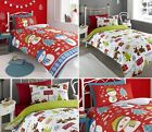 UK CHRISTMAS XMAS PRINTED POLY COTTON DUVET QUILT COVER BEDDING SET + PILLOWCASE