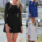 S-XL Lady Sexy Lace Bow Tie Backless Love Heart Long Sleeve Mini Party Dress