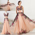 Vintage 1950s Style Chiffon Long MAXI Sexy V Neck Flower Print Prom Gown Dresses