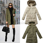 Women Winter Fur Collar Down Cotton Coat Hooded Jacket Slim Long Parka Outwear