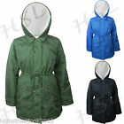 New Ladies Fur Hood Parker Jacket Winter Rain Coat Zip Up Parka Military Pica