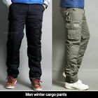 Men Winter cargo pants lined thermal work trousers fatigue Black & Khaki color