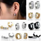 Dazzling Mens Women Crystal Stainless Steel Ear Hoop Stud Earrings GaugesX1Pair