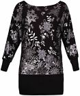 Womens Floral Print Ladies Silver Foil Off Shoulder T-Shirt Dress Top Plus Size