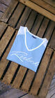 Reebok Ladies/Women`s Short Sleeve T-Shirt Top in LIGHT BLUE and WHITE SLEEVES