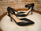 Sole Society Olyvia Black Leather Pointed Toe Kitten Heel Pumps NEW