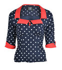 Küstenluder SYBEL 50s POLKA DOTS Punkte Collar Retro PIN UP Shirt Rockabilly
