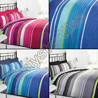 REVERSIBLE BLACK BLUE PINK GREY STRIPED STRIPEY QUILT DUVET COVER BEDDING SET