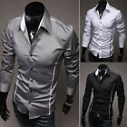 low profit sell Men's Clothing Casual Shirts Slim Fit Long Sleeve Dress T-Shirts